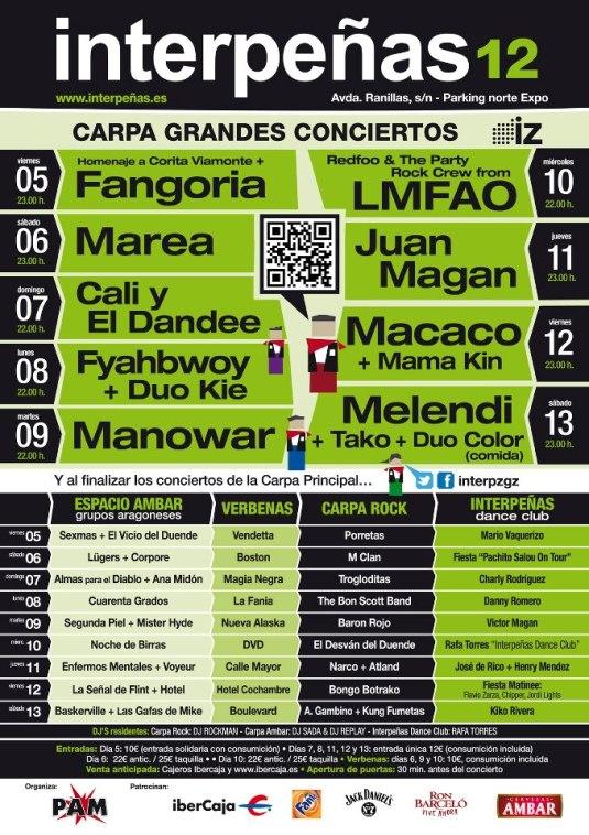 cartel conciertos interpeñas 2012 fiestas del pilar