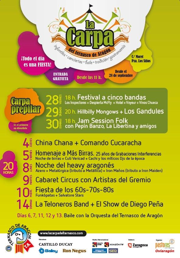 conciertos carpa del ternasco fiestas del pilar 2012 zaragoza