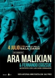 ARA MALIKIAN @ SALA OASIS | Zaragoza | Aragón | España