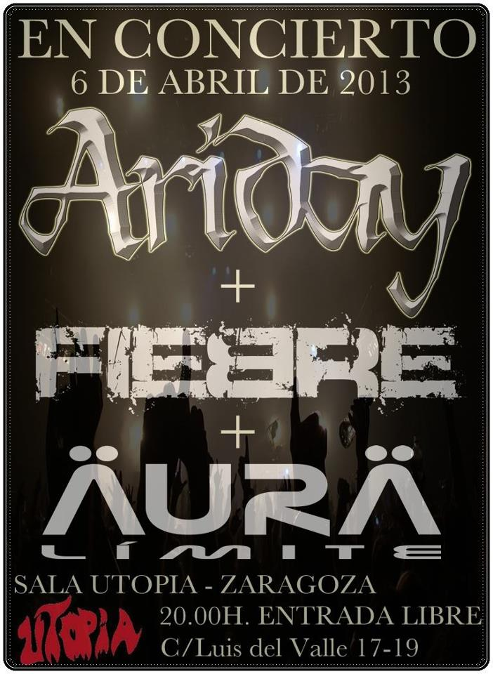 CONCIERTO ARIDAY + FIEBRE + ÄURÄ LIMITE zgz conciertos