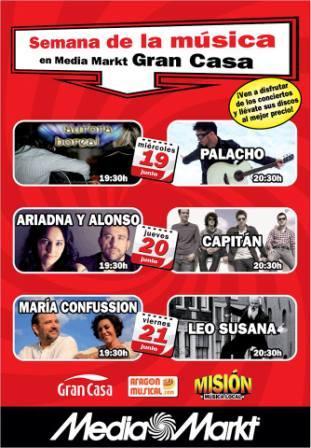 Conciertos junio Media Markt Zaragoza