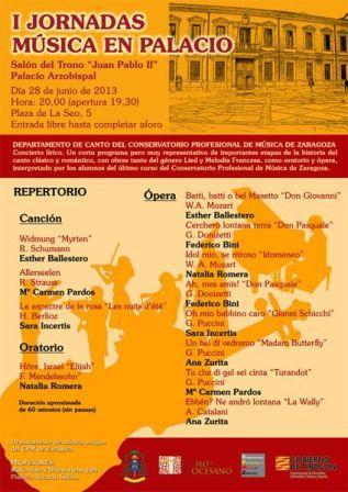 I JORNADAS MUSICA EN PALACIO Zaragoza