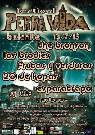 Cartel Festival Perra Vida Belchite 13 Julio