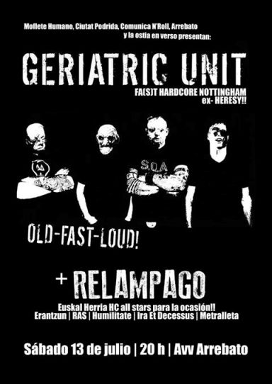 concierto de Geriatric Unit y Relampago
