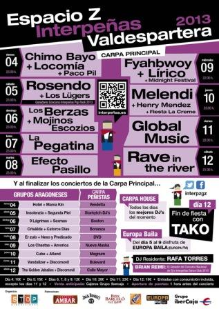 Cartel conciertos Interpeñas Espacio Z Pilar 2013