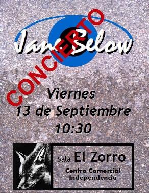 Concierto Jane Below Pub El Zorro