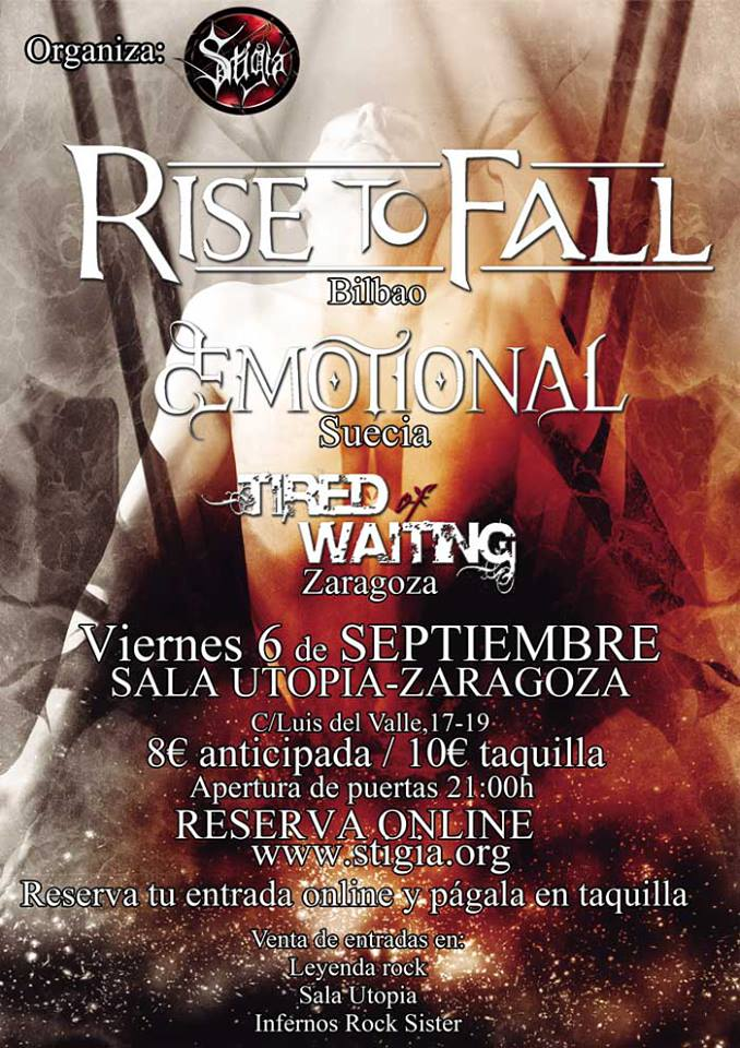 RISE TO FALL + dEMOTIONAL + TIRED OF WAITING zgz conciertos