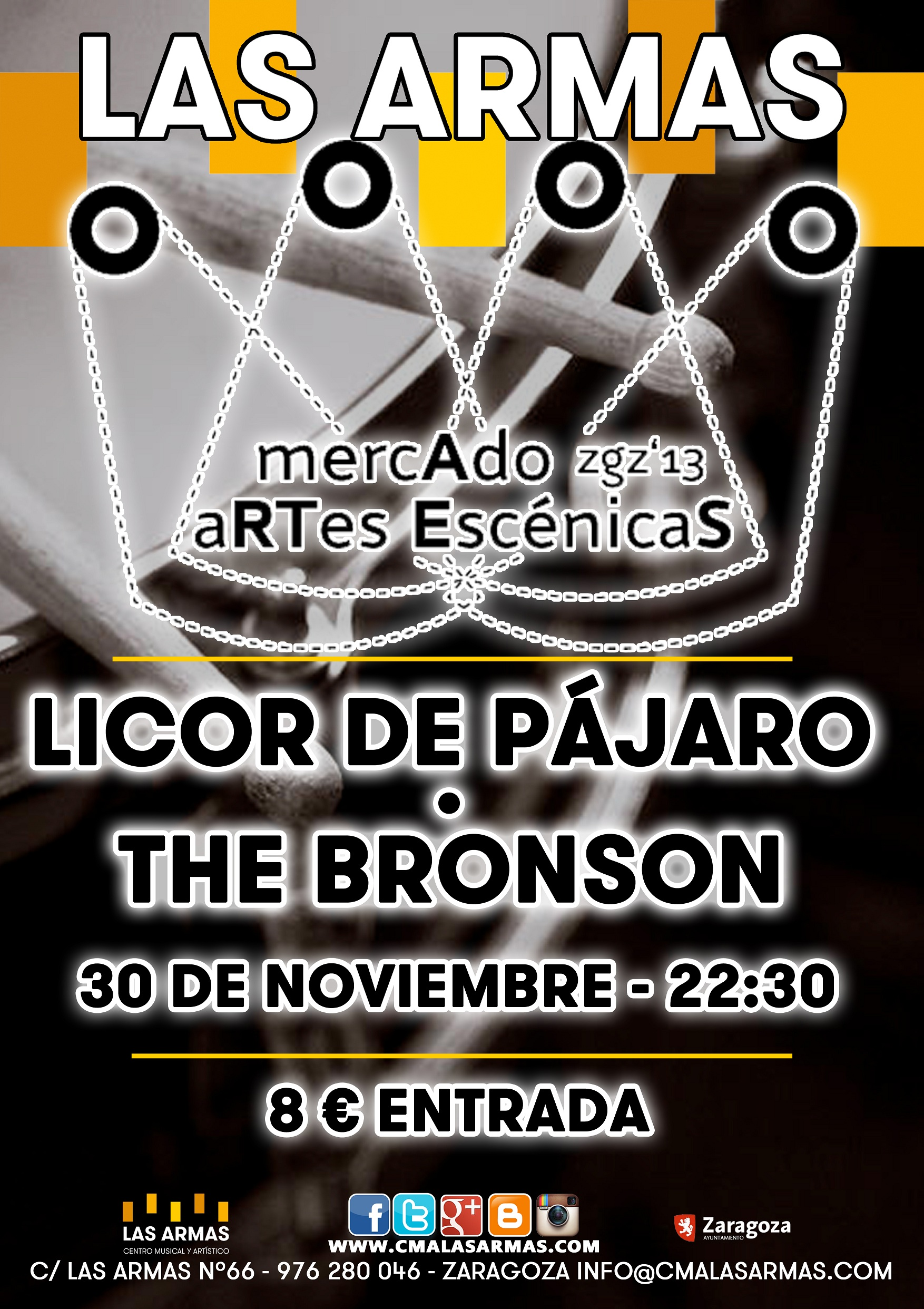 CARTEL LICOR DE PAJARO + BRONSON zgz conciertos