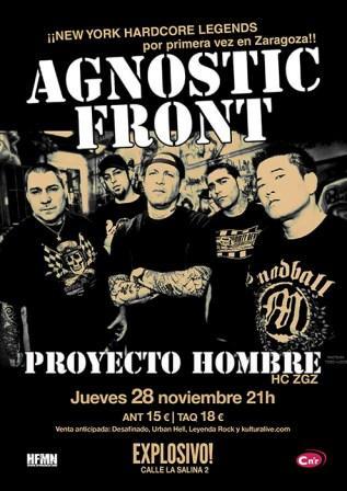 Concierto Agnostic Front + Proyecto Hombre Explosivo