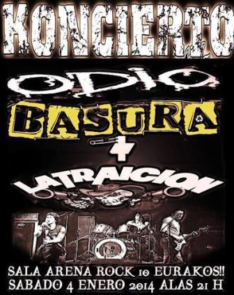 Concierto Odio + La BAsura + La Traición en Arena Rock