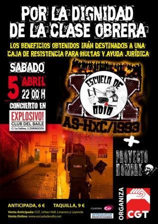 Concierto Escuela de Odio + Proyecto Hombre CGT 5 abril