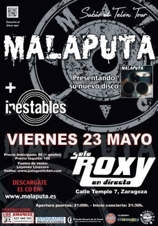 Concierto Malaputa + Inestables en sala Roxy