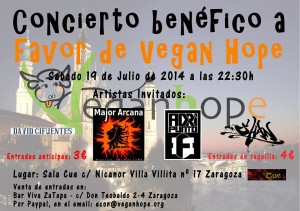 CONCIERTO BENEFICO A FAVOR DE VEGAN HOPE @ SALA CUE | Zaragoza | Aragón | España