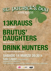 13 KRAUS + DRINK HUNTERS+ BRUTUS DAUGHTERS @ Sala López | Zaragoza | Aragón | España