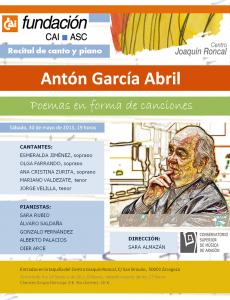 POEMAS - ANTÓN GARCÍA ABRIL @ CENTRO JOAQUIN RONCAL | Zaragoza | Aragón | España