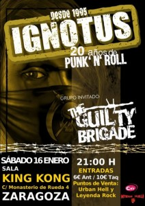IGNOTUS + THE GUILTY BRIGADE @ SALA KING KONG | Zaragoza | Aragón | España