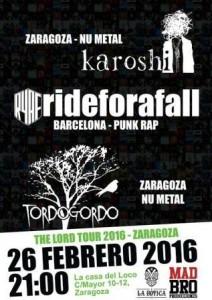 RIDE FOR A FALL + KAROSHI + TORDOGORDO @ LA CASA DEL LOCO | Zaragoza | Aragón | España