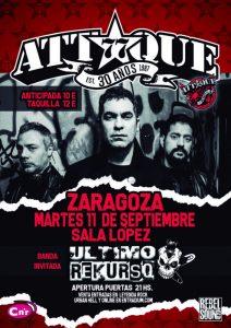 ATTAQUE 77 + ÚLTIMO REKURSO @ SALA LÓPEZ | Zaragoza | Aragón | España
